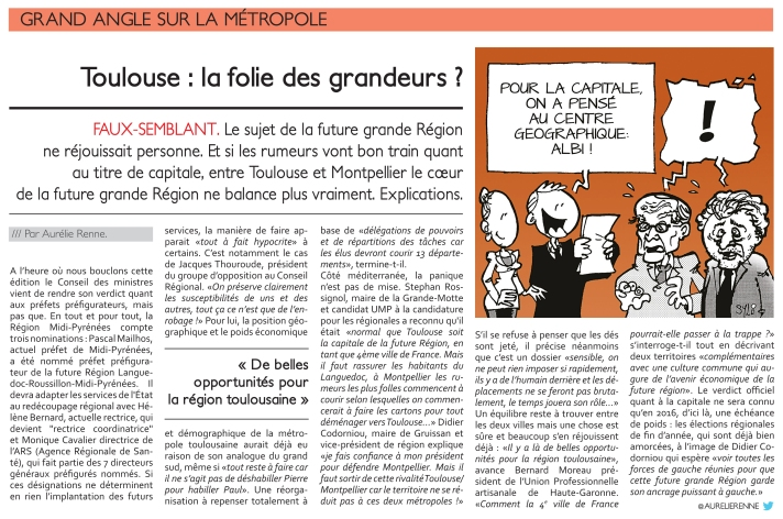 article du journal toulousain sur la capitale de la grande région