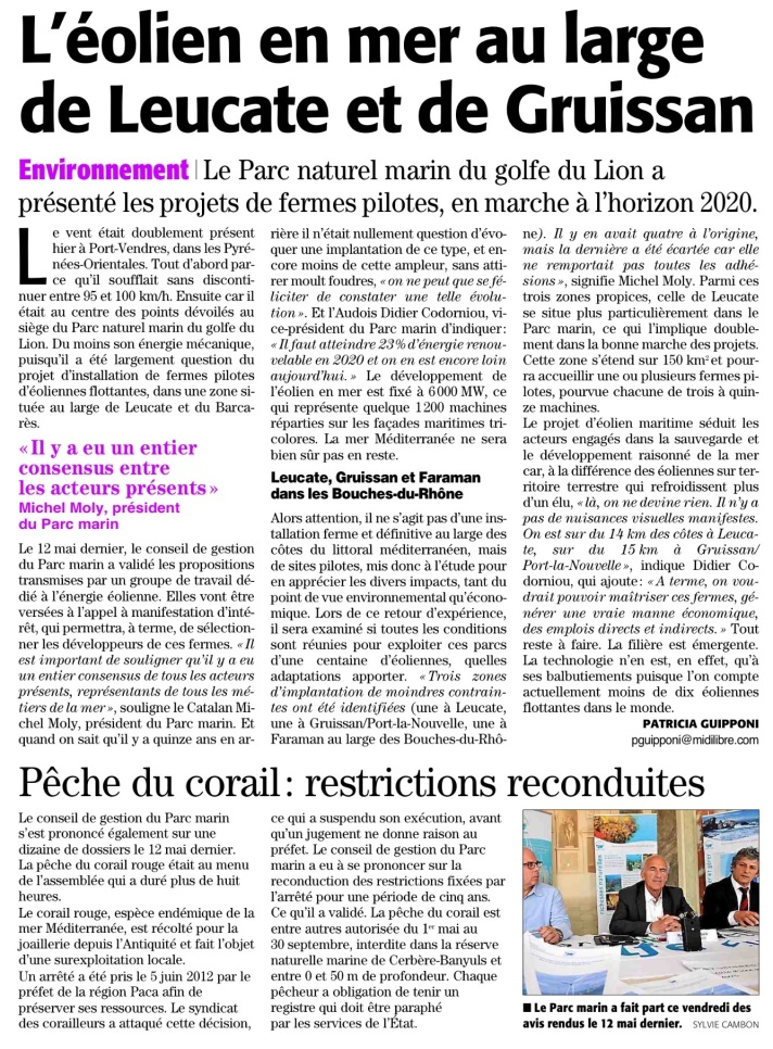 Article eolien midi libre