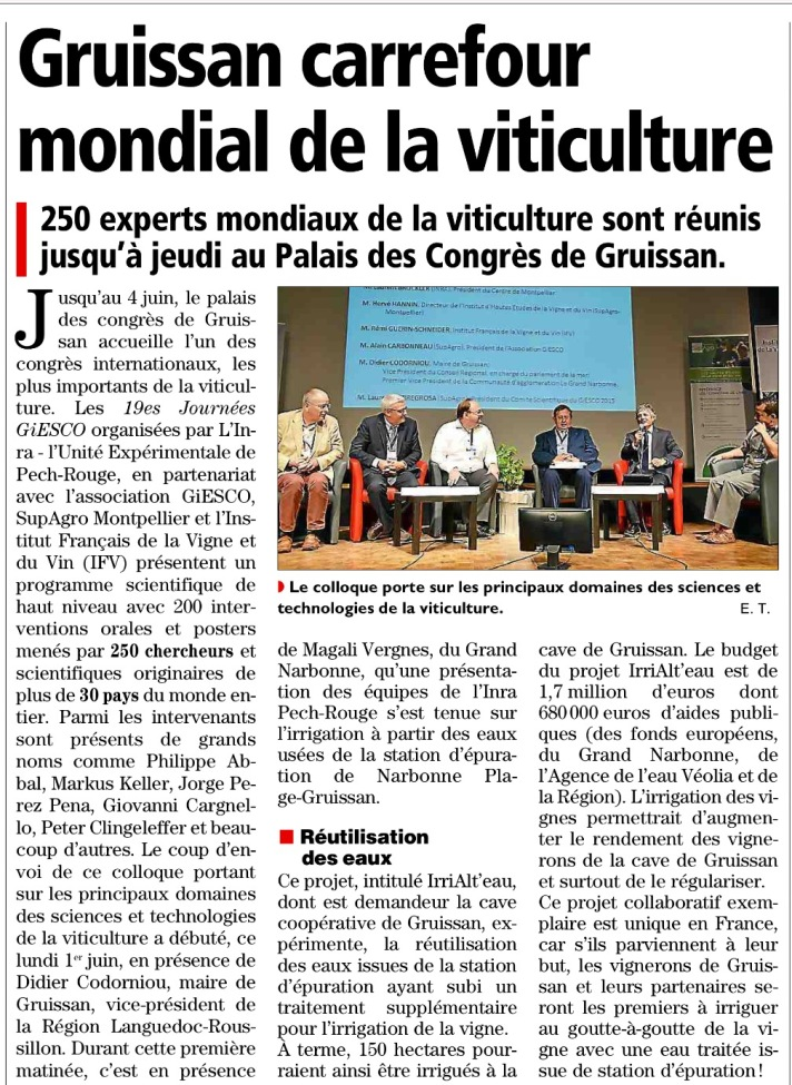 Article paru dans l'Indépendant Narbonne du 2 juin 2015