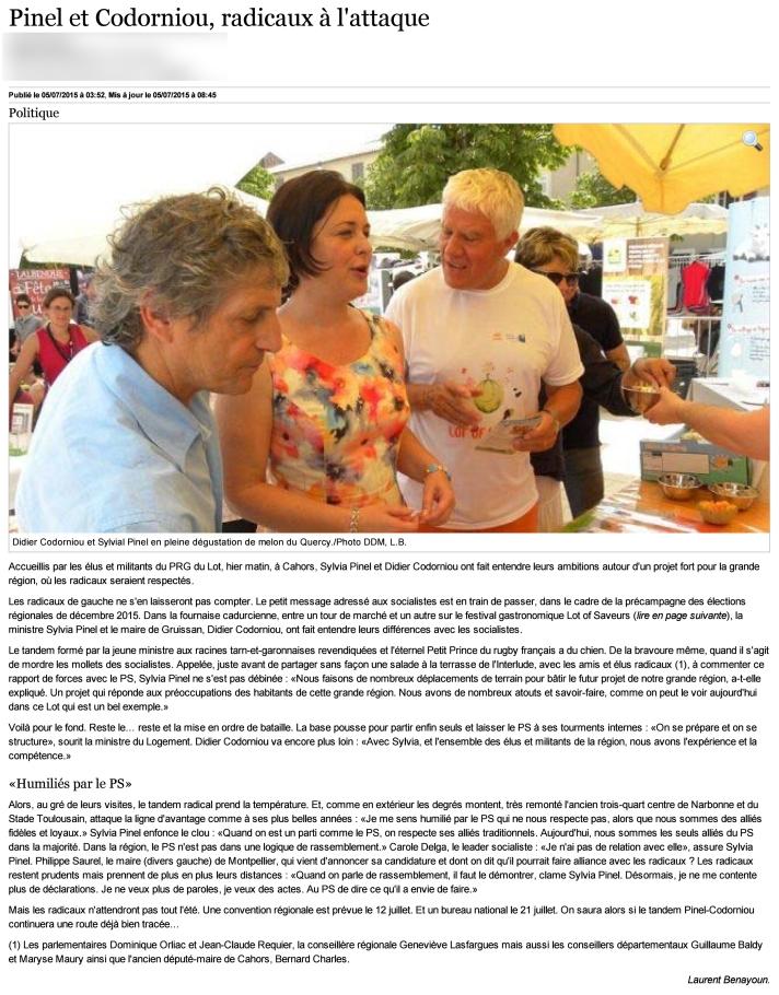 Article paru dans le journal La Dépêche - Edition du Lot