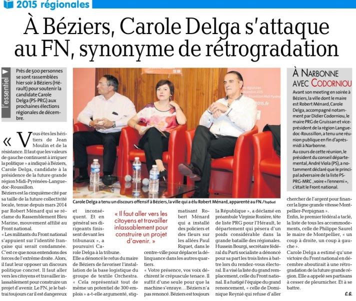 Article La Dépêche 27/10/2015