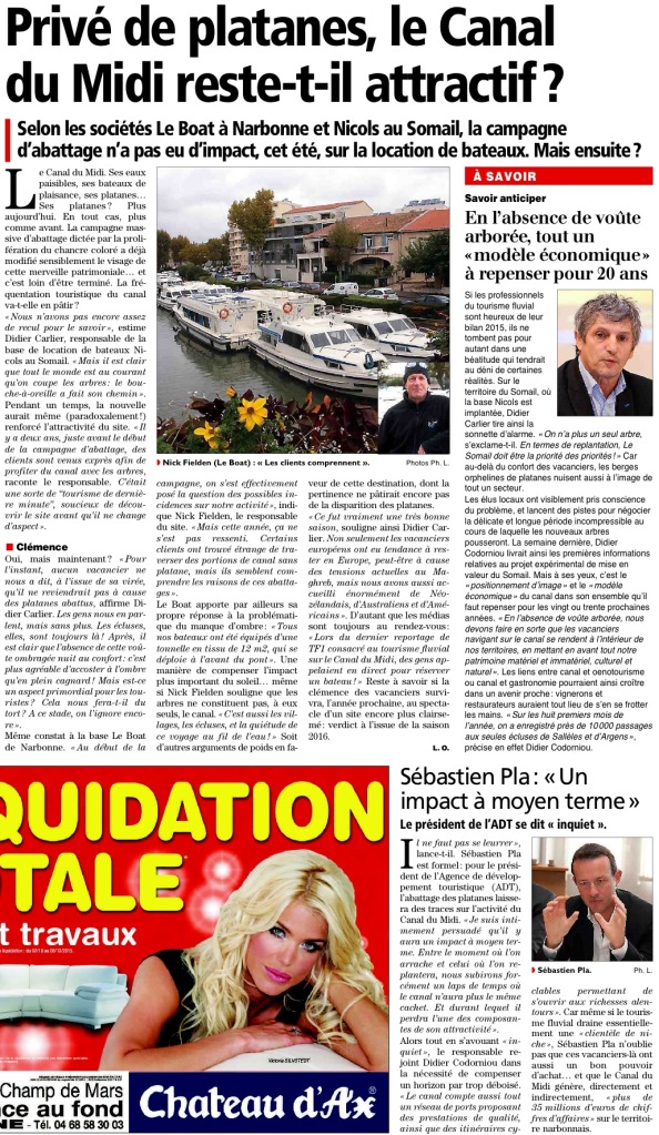 Article Midi Libre  l'Independant du 31/10/2015