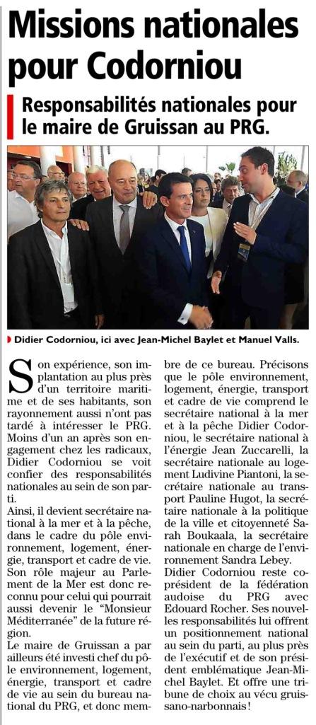 L'Indépendant / Midi libre du 13 octobre 2015