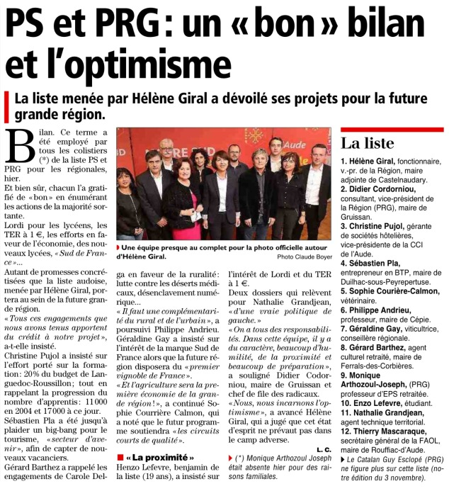 Article Midi Libre / L'Independant