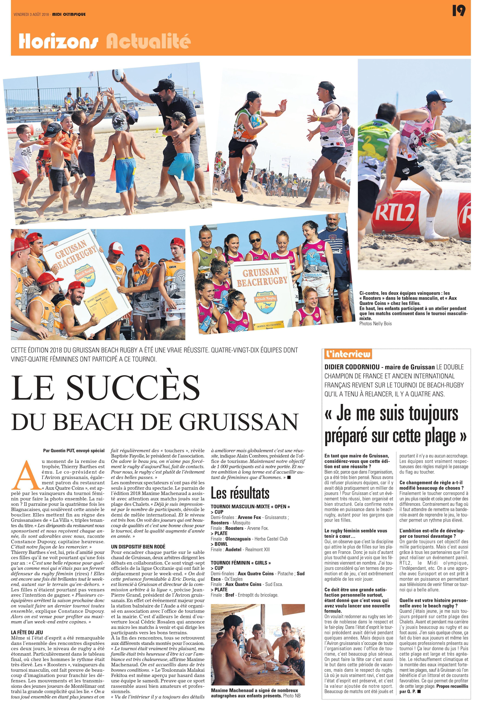 article Midi Olympique sur la Gruissan Beach Rugby 2018