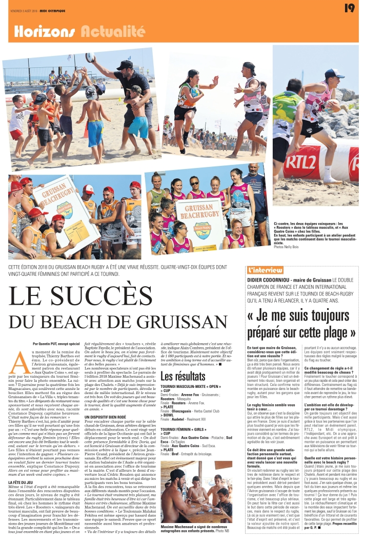 article Midi Olympique sur la Gruissan Beach Rugby 2018